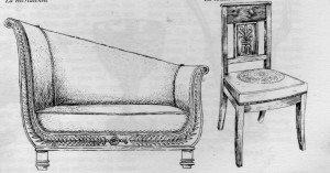 Chaise-droite-et-méridienne-Empire-300x157 Les différents styles de meubles par époques