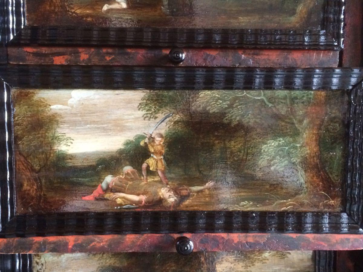 cabinet-17ème-en-placage-débène-David-et-Goliath-1er-livre-de-Samuel-17-1 cabinet XVIIe en ébène
