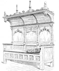 Banc surmonté dun dais de bois sculpté | Atelier Patrice Bricout