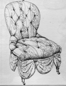 chaise à capitons Napoléon III | Atelier Patrice Bricout