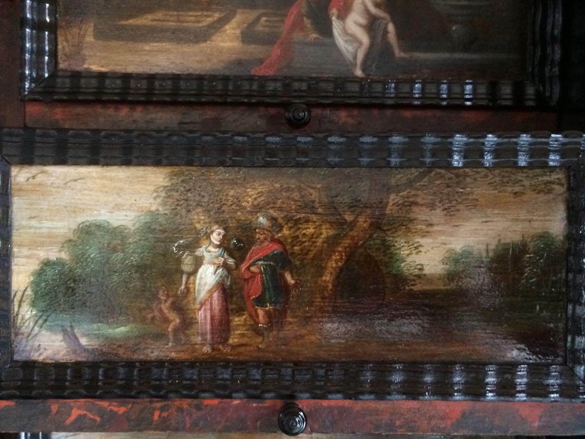 cabinet-17ème-en-placage-débène-Abraham-renvoie-Agar-et-Ismaël-Livre-de-la-Génése-21-1 cabinet XVIIe en ébène