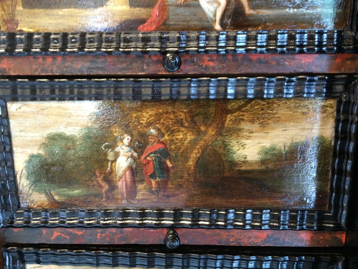 cabinet-17ème-en-placage-débène-Abraham-renvoie-Agar-et-Ismaël-Livre-de-la-Génése-21 cabinet XVIIe en ébène