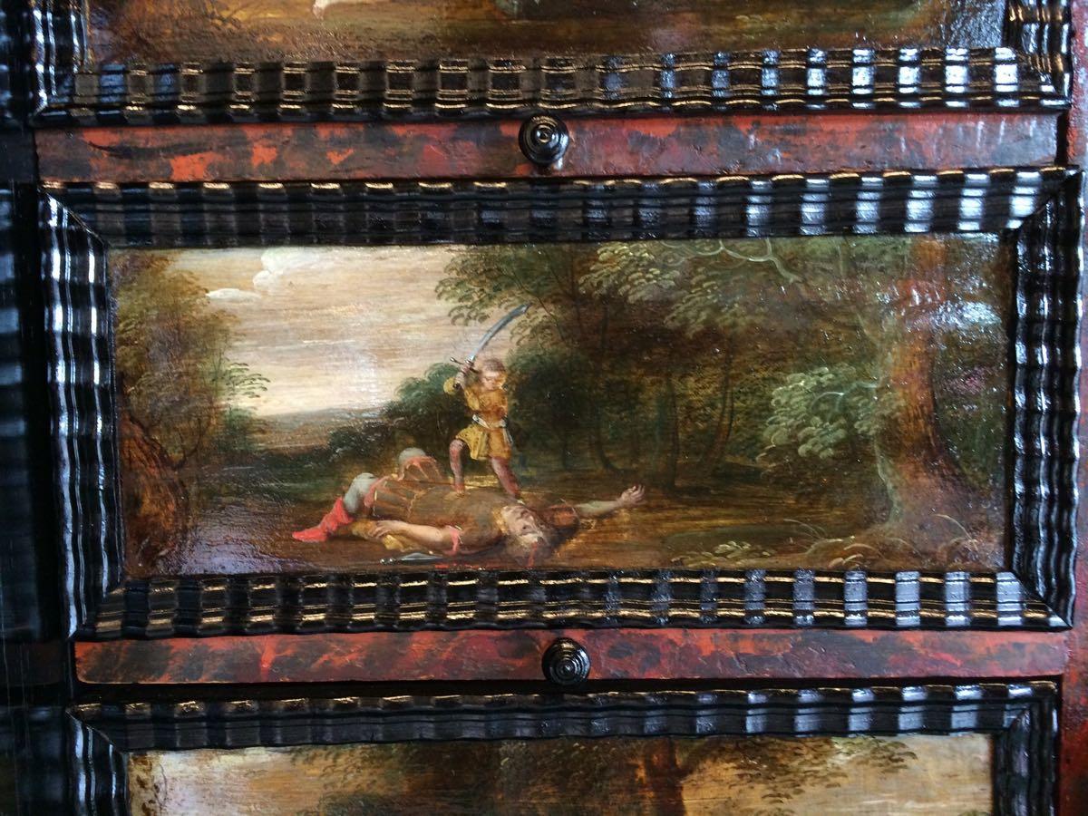 cabinet-17ème-en-placage-débène-David-et-Goliath-1er-livre-de-Samuel-17 cabinet XVIIe en ébène