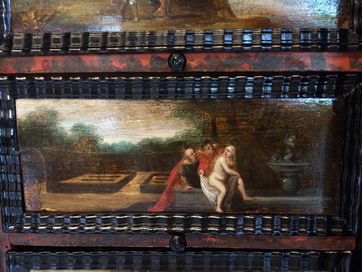 cabinet-17ème-en-placage-débène-Suzanne-et-les-Vieillards-Livre-de-Daniel-13 cabinet XVIIe en ébène