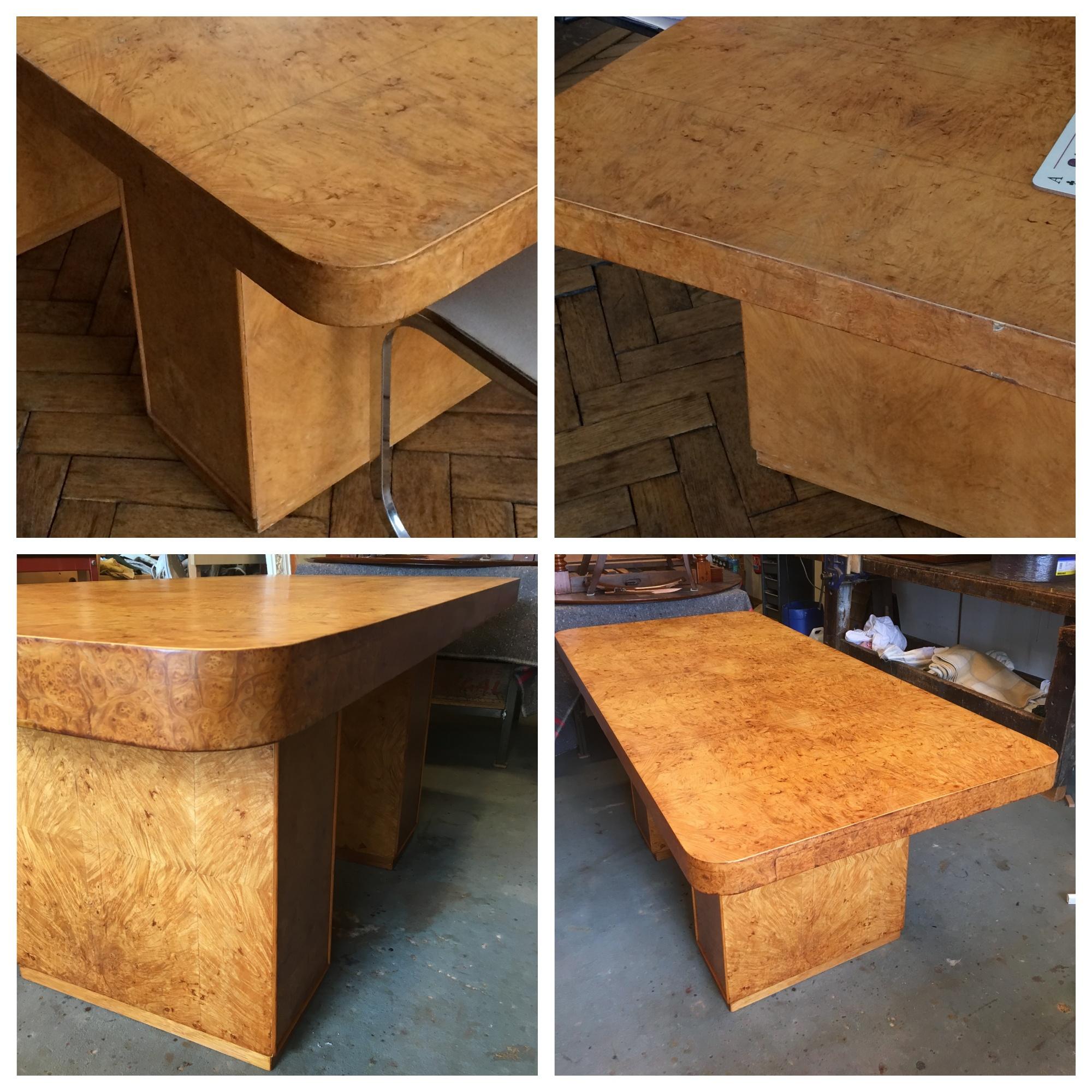Table-«-Art-Déco-»-en-loupe-d'Amboine-à-deux-pieds table art déco loupe d'amboine