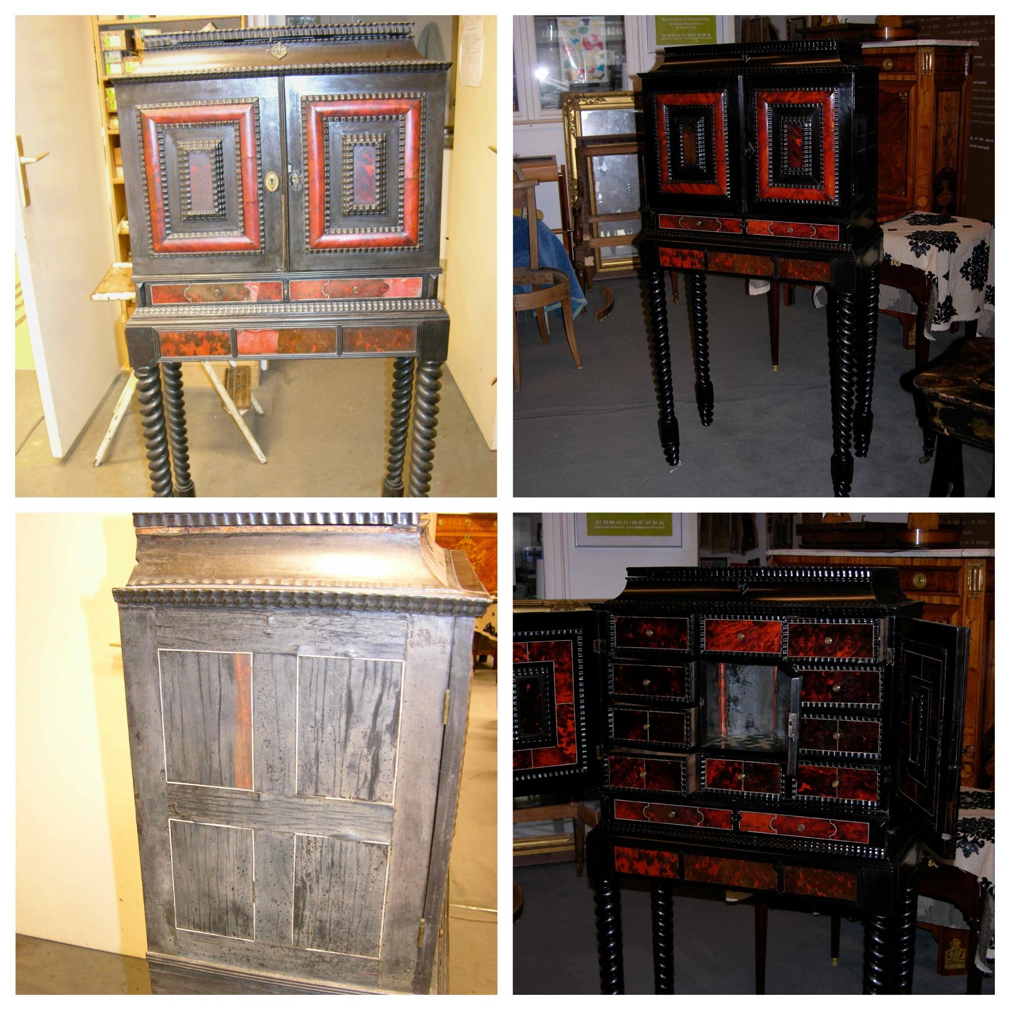 cabinet-XVIIe-présentation-une-scène-de-théatre cabinet flamand XVIIe