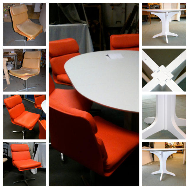 sièges cuirs et table ronde Roche Bobois