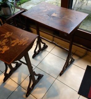 tables gigogne Art Nouveau Signé GALLÉ avant restauration par atelier patrice Bricout