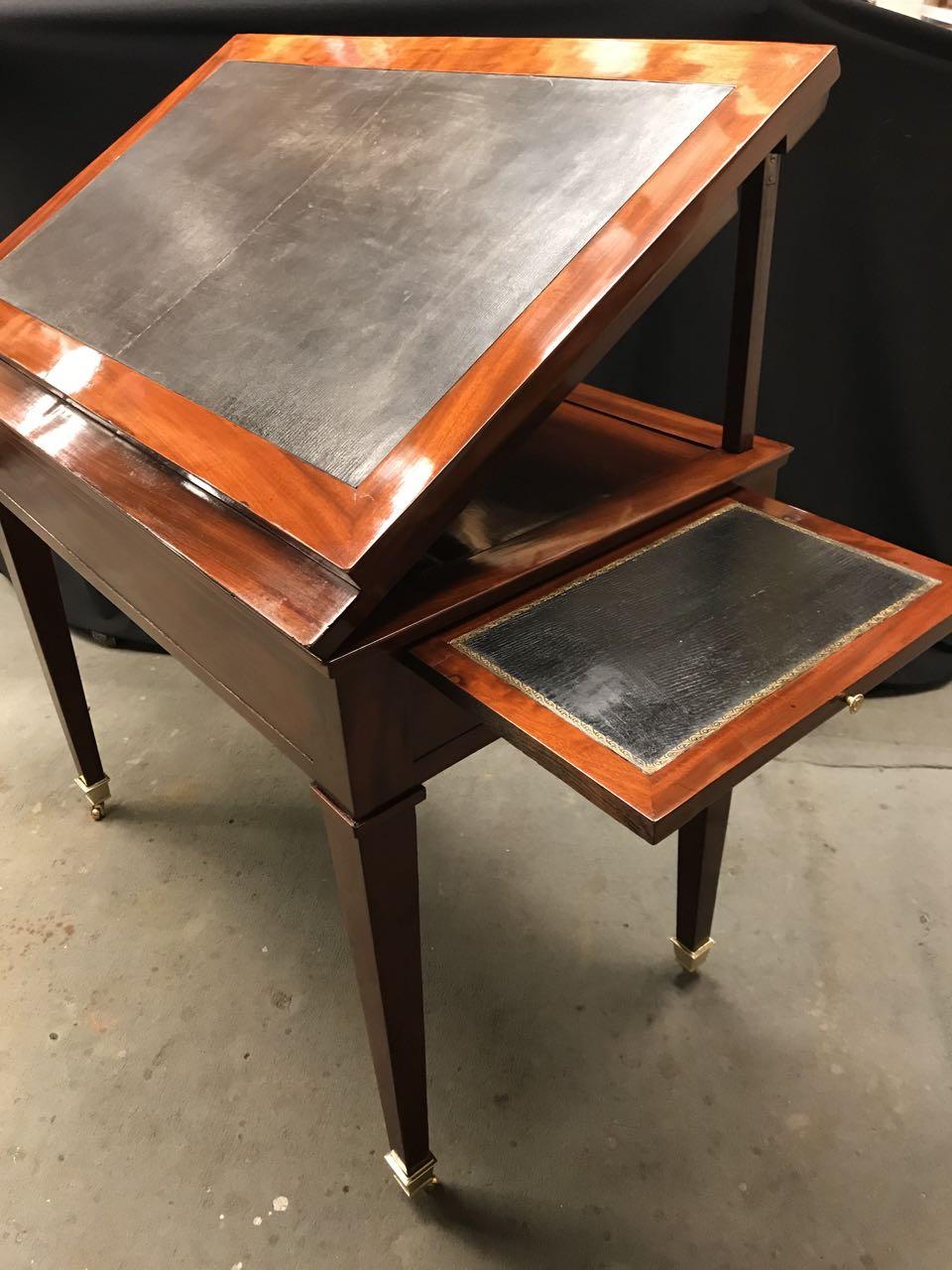 table dArchitecte dite à la Tronchin Epoque Louis XVI de forme rectangulaire en acajou et placage dacajou 21Atelier Patrice Bricout Marcq en Baroeul | Atelier Patrice Bricout