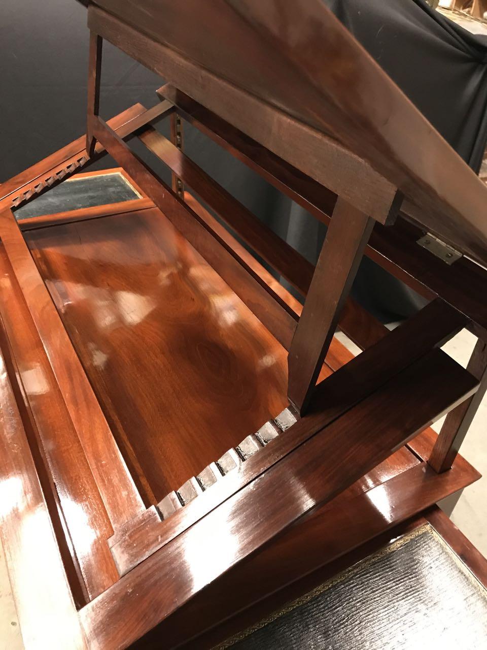 table dArchitecte dite à la Tronchin Epoque Louis XVI de forme rectangulaire en acajou et placage dacajou 6Atelier Patrice Bricout Marcq en Baroeul | Atelier Patrice Bricout