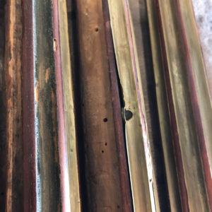 Console desserte Louis XVI en acajou et placage d'acajou baguettée de cuivre et de filets débène Estampille C.E.RICHTER 5 | Atelier Patrice Bricout